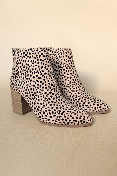 Closed Toe Ankle Booties with Wooden Block Heel-Leopard Print