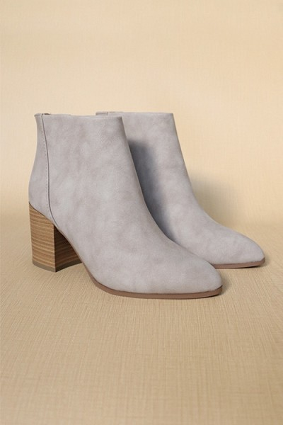 Closed Toe Ankle Booties with Wooden Block Heel-Taupe