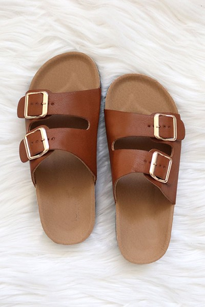 Double Strap Buckle Sandals-Tan Brown