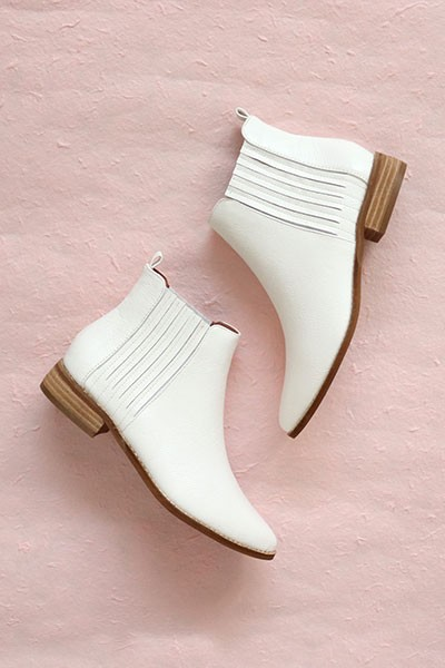 Chelsea Low Heel Ankle Booties-White
