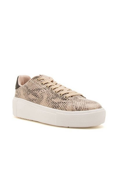 Casual Animal Print Low Top Platform Lace Up Sneakers-Snake Skin Print