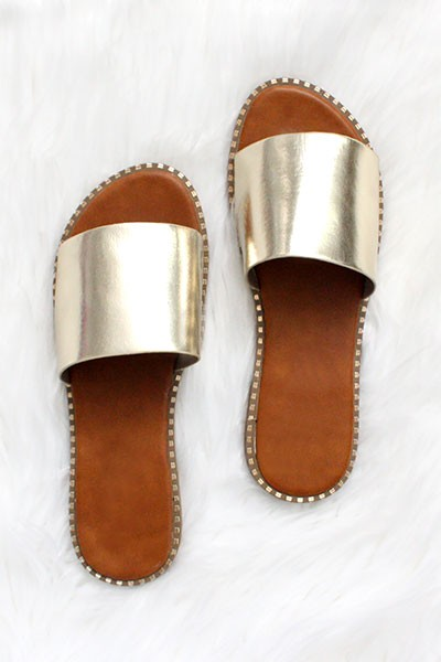 Single Band Gold Trim Sandals Slides-Metallic Gold