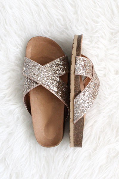 Glitter Bold X Strap Sandals Slippers-Rose Gold