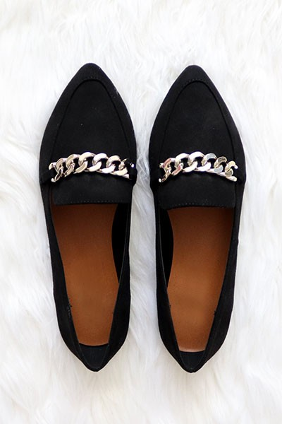 Chain Link Pointy Toe Closed Toe Loafer Flats Shoes-Black