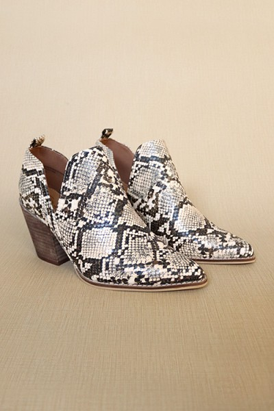 Ankle Slit Side Cutout Closed Toe Booties with Block Heel-Brown Python Snake Print