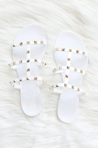 Strappy Studded Flip Flops Jelly Sandals-White