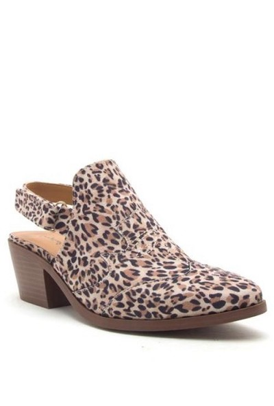 Western Closed Toe Sling Back Mules Shoes-Leopard Print