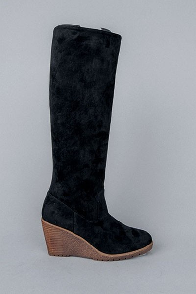 Faux Suede Knee High Wedge Boots-Black