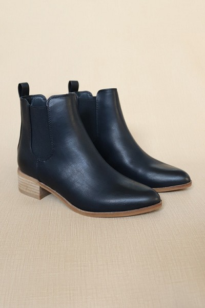 Faux Leather Chelsea Ankle Booties with Low Wooden Heel-Black