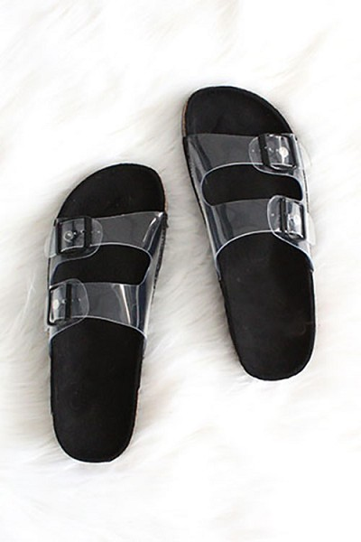 Clear Double Strap Buckle Sandals-Black Sole