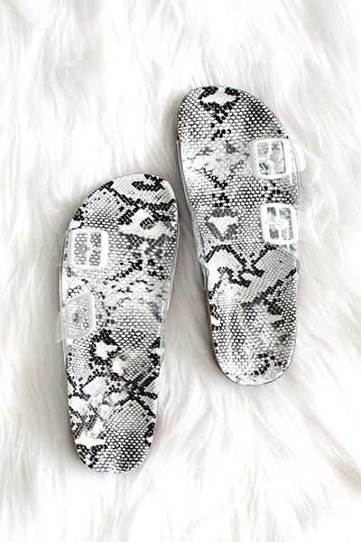 Clear Double Strap Buckle Sandals with Animal Print Sole-Snake Print