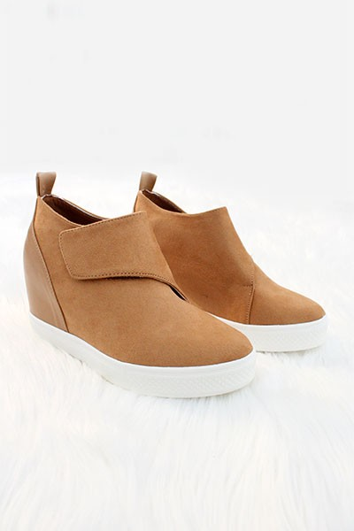 FLASH SALE: Velcro Hidden Wedge Sneakers-Camel Brown