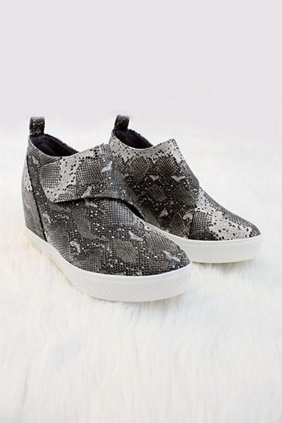 FLASH SALE: Velcro Hidden Wedge Sneakers-Snake Print