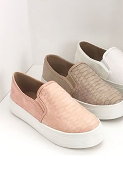 Snake Textured Casual Slip On Flat Shoes Sneakers-Blush Pink