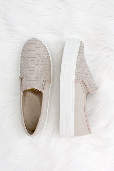 Snake Textured Casual Slip On Flat Shoes Sneakers-Taupe
