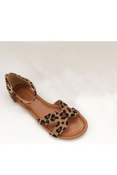H Band Sandal with Ankle Strap-Leopard Print
