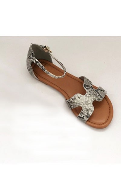 H Band Sandal with Ankle Strap-Python Snake Print