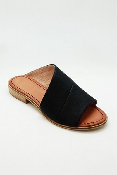 Faux Leather Slip On Open Toe Side Cutout Sandals-Black