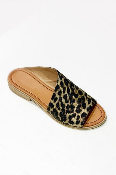 Faux Leather Slip On Open Toe Side Cutout Sandals-Leopard Print