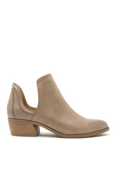 Faux Leather Side Cutout Closed Toe Ankle Booties-Taupe
