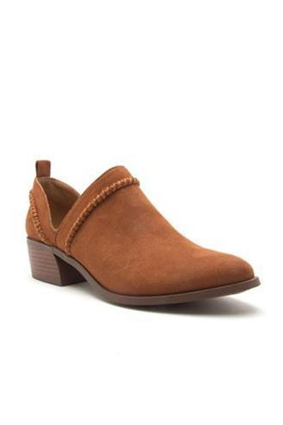 Boho Trim Faux Suede Booties with Low Heel-Brown