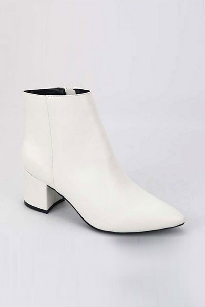 Faux Leather Closed Pointy Toe Block Heel Ankle Booties-White