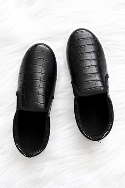 Comfortable Casual Slip On Flat Shoes Sneakers-Black Croc Print