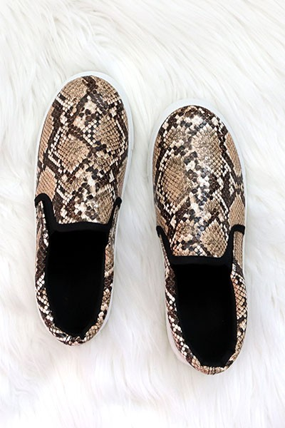 Comfortable Casual Slip On Flat Shoes Sneakers-Brown Snake Skin Print