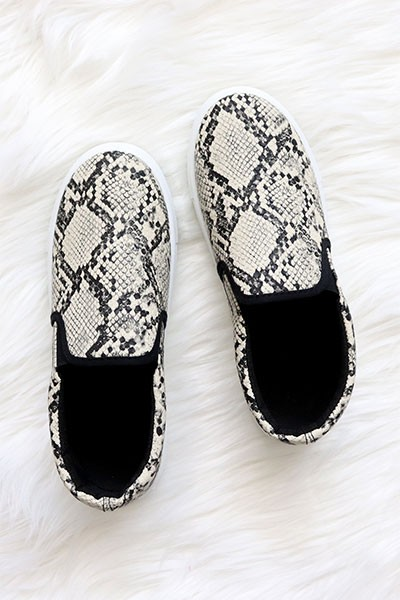 Comfortable Casual Slip On Flat Shoes Sneakers-Snake Skin Print