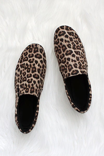 Comfortable Casual Slip On Flat Shoes Sneakers-Cheetah Leopard Print