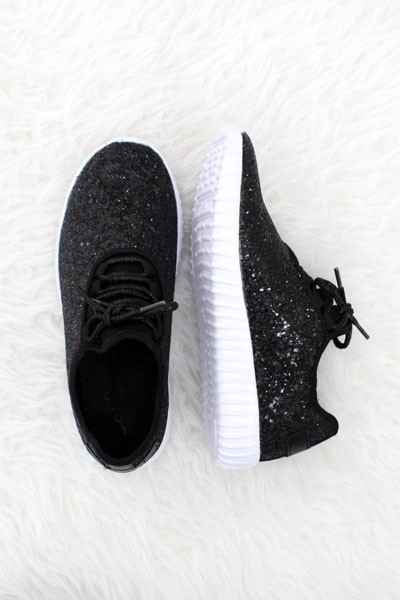 Lace Up Glitter Bomb Sneakers Shoes-Black - (LIMITED TIME SALE!)