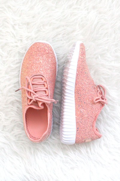 FLASH DEAL! ENDS SOON - Lace Up Glitter Bomb Sneakers Shoes-Dusty Rose, Pink - (LIMITED TIME SALE!)