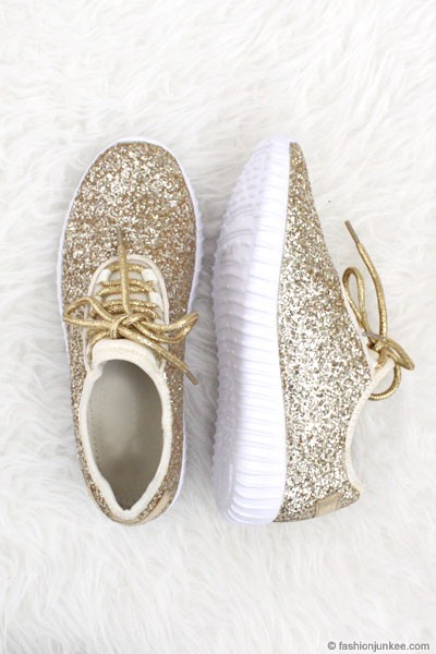 Lace Up Glitter Bomb Sneakers Shoes-Gold - (LIMITED TIME SALE!)