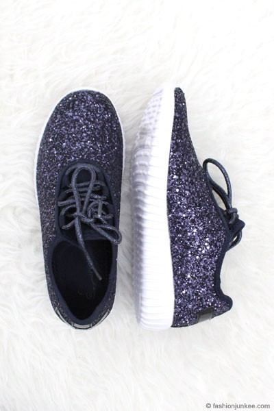 BLACK FRIDAY FLASH DEAL! ENDS SOON - Lace Up Glitter Bomb Sneakers Shoes-Navy Blue- (LIMITED TIME SALE!)