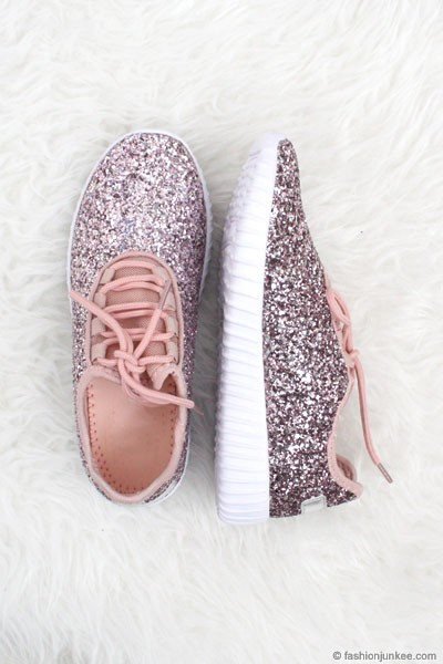 BLACK FRIDAY FLASH DEAL! ENDS SOON - Lace Up Glitter Bomb Sneakers Shoes-Pink - (LIMITED TIME SALE!)