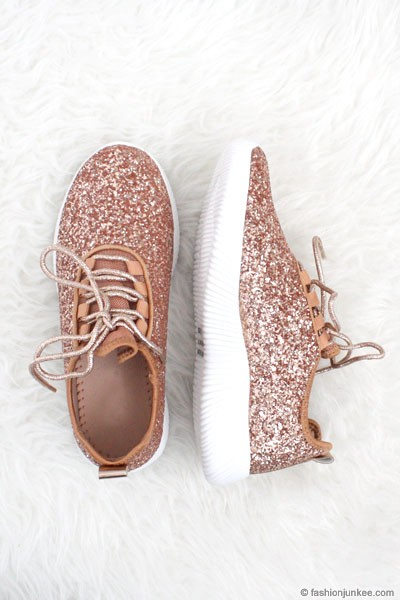Lace Up Glitter Bomb Sneakers Shoes-Rose Gold - (LIMITED TIME SALE!)