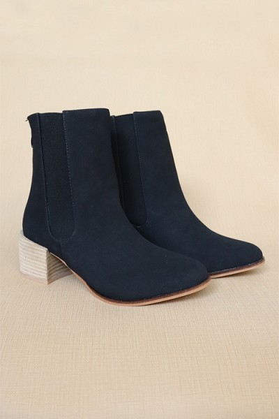 Faux Suede Tall Chelsea Boots with Wooden Heel-Black