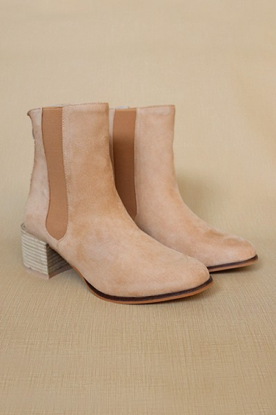 Faux Suede Tall Chelsea Boots with Wooden Heel-Camel Brown