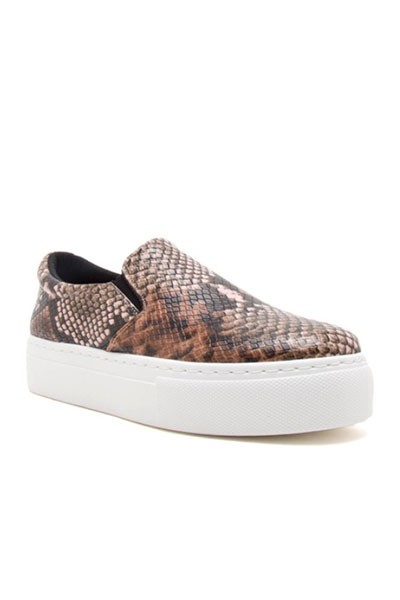 Platform Casual Animal Print Slip On Shoes-Brown Snake Skin Print