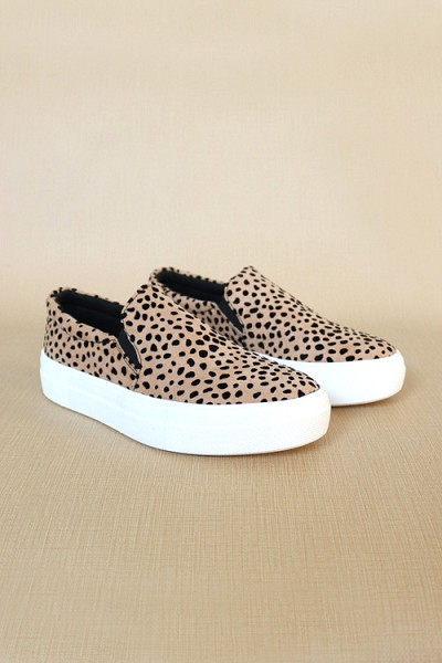 Platform Casual Animal Print Slip On Shoes-Leopard Print