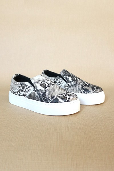 Platform Casual Animal Print Slip On Shoes-Snake Skin Print
