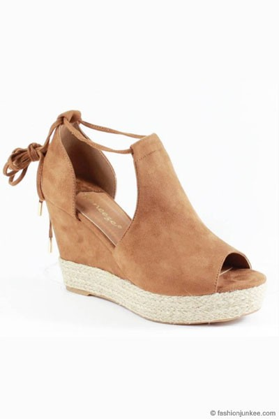 Faux Suede Lace Up Espadrille Wedge Sandals-Camel Brown