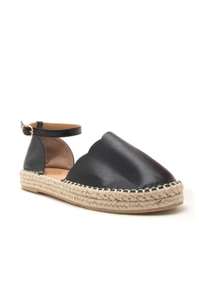 Scallop Closed Toe Espadrille Low Platform Flats Sandals with Ankle Strap-Black