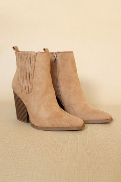 Faux Suede Pointy Toe Closed Toe Block Heel Ankle Booties-Tan Brown