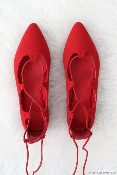 Faux Suede Pointy Toe Strappy Ballet Ballerina Lace Up Flats-Red