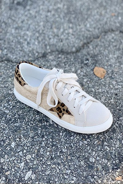 FLASH SALE: Leopard Print Lace Up Low Top Star Sneakers-Beige Brown