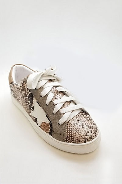 Animal Snake Print Lace Up Low Top Star Sneakers-Snake Print