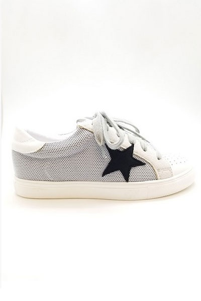 Mesh Lace Up Low Top Star Sneakers-Light Grey