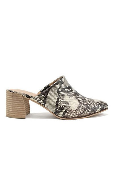 Pointy Toe Closed Toe Mules Slides with Block Heel-Snake Print