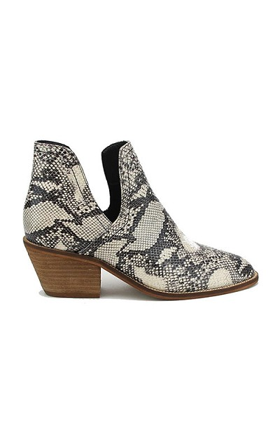 Faux Leather Ankle Slit Side Cutout Closed Toe Booties-Snake Skin Print